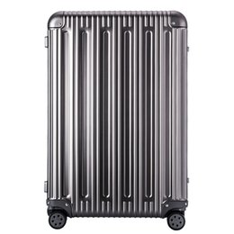 Discount aluminum travel feixueer25 inch Luxury 100% Aluminum Magnesium Alloy Trolley Suitcase Business Metal Spinner Luggage Women Travel Case M