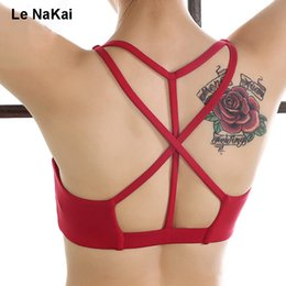 Fitness Lighting Canada - Sexy Criss Cross Yoga Bra Padded Push Up Women Fitness Gym Sports Crop Top Light Support Wirefree Back Less Active Underwear
