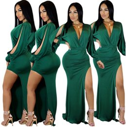 $enCountryForm.capitalKeyWord Canada - New Fashion Women Clothing Sexy Dress 2018 New Long Sleeve V-neck Fashion Dress Sexy Open Fork Irregular Nightclub Dress Party Dresses Femal
