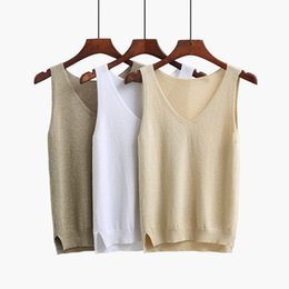 080490d62c8 2018 Sexy Knitted Tank Tops Women Gold Thread Top Vest Sequined V Neck Long  Tank Tops Blusa Silver Camis Beige Fitness Sweater