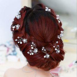hair ribbons flowers small 2019 - Crystal handmade small head flower U type hairpin Pearl Wedding headwear wedding dresses hair ornament cheap hair ribbon