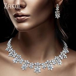 Jade Dresses Australia - ZAKOL Luxury Sparking Brilliant Zircon Flower Earring Necklace Heavy Dinner Jewelry Set Bridal Wedding Dress Accessories FSSP388
