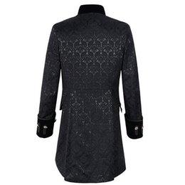 3a7830d3bf8 LASPERAL Mens Gothic Brocade Jacket Frock Coat Steampunk Victorian Morning  Coat Smart Jacket Black White Mens Wind Breaker 2018