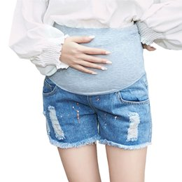 17ef77338 Pantalones cortos de maternidad de los pantalones vaqueros del verano para  la ropa de las mujeres embarazadas de cintura alta Pantalones cortos del  vientre ...
