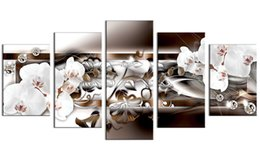 Fringe panels online shopping - 5 Pieces Canvas Painting White Orchid Flowers Wall Art Painting Diamond Fringe Background Wall Art For Home Decor with Wooden Framed Gifts