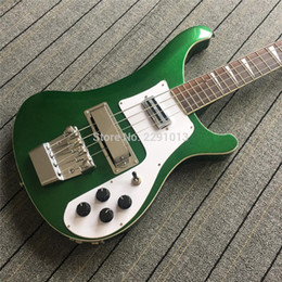 Bass guitar fingerBoards online shopping - Custom RIC Strings Metallic Green Electric Bass Guitar Chrome Hardware Triangle MOP Fingerboard Inlay Top Selling