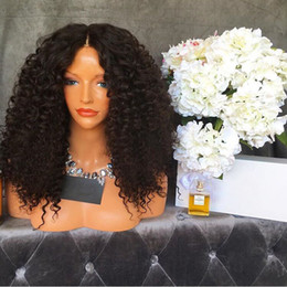 AfricAn AmericAn wigs middle pArt online shopping - Blonde Middle Part Afro Black Brown Kinky Curly Synthetic Lace Front Wigs With Baby Hair Heat Resistant Hair For African American Wigs