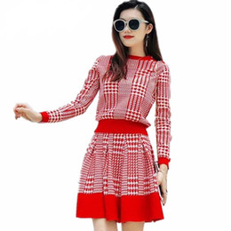 Autumn Fashion Runway Women s Long Sleeve Knit pullover Sweater +High Waist  Plaid Skirt Two Piece Ladies Elegant Skirt Suit 02e5f17c6