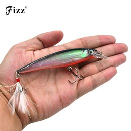 China 11cm 14g Hard Plastic Minnow Lure with Feather Artificial Fishing Lures 3D Fish Eye Fake Swimbait Simulation Crankbait MI090 Y18100906 cheap wholesale ice jigs suppliers