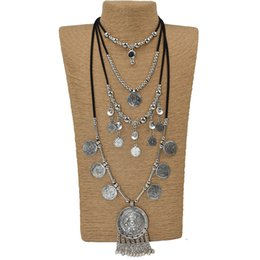 $enCountryForm.capitalKeyWord UK - 2017 new Heavy metal Statement Gypsy Ethnic Vintage Antique Silver beads tassel pendants long Maxi Necklace Chains Necklace