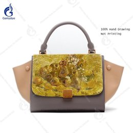 8338fe1960 Painted Bags NZ - Hand Painted Fruit Cow Leather Trapeze Bag For Woman Bags  Patchwork Decorate