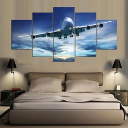 9d7b582a85 Modular HD Imprime Blue Sky Aircraft Poster Lienzo Arte de la pared Fotos 5  Unidades Frescas Pinturas de Aviones Salón Decoración Marco