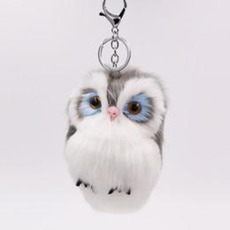 Chinese  Marcatsa Cute Fluffy owl rabbit fur Ball Keychains animal doll Bag charm Toy Key Chain Car Keyring keychain for Women Jewelry manufacturers