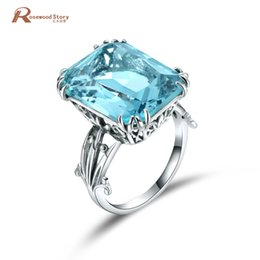 Sky Blue Ring NZ - Luxury Square Charms Handmade Vintage Women's 925 Sterling Silver Birthstones Sky Blue Crystal Wedding Ring Brand Jewelry D1892005