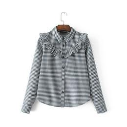 2018 women long sleeve plaid shirt black button sweet ladies blouse turn  down collar SML casual drop shipping ruffles at chest c557f3d063fb