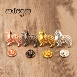 Discount small male dog collar - Mdogm 2018 Cute Shetland Sheepdog Dog Animal Brooches And Pins Wholesale Suit Metal Small Collar Badges Gift For Male Me