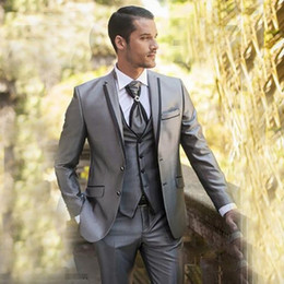 Grey Tuxedos For Groom Canada - Grey Satin Slim Fit Suit Wedding SuitS for Men Best Man Blazer Jacket Groom Tuxedo Prom Wear 3 Piece Men Suits with Pants Terno