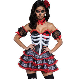 Sexy Skeleton Dress NZ - halloween Sexy ghost bride Costume Horror Skeleton corpse bride Cosplay Dress Skull female Zombie scary Day of the Dead clothing