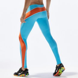 9dd0ce3d4f 2018 New Men Elastic Waist Running Tights Training Sport Leggings Patchwork  Compression Running Pants Sky Blue Gym Wear Men Sexy