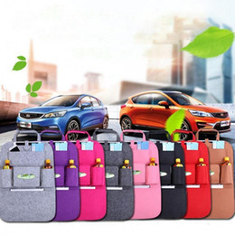 car food holder 2019 - Car Storage Bag Universal Back Seat Organizer Box Felt Covers Backseat Holder Multi-Pockets Container Stowing Tidying St