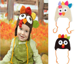 Wholesale Handmade cartoon animal turkey hat photograph prop wool knit baby warm beanie Thanksgiving Turkey hat cap Festival christmas kids best gift