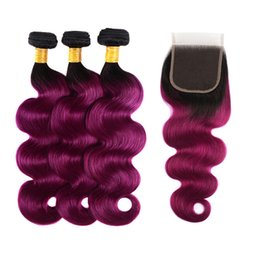 Wholesale Virgin Brazilian Hair Bundles Ombre Human Hair Weaves With Lace Closure B Purple Body Wave Straight Ombre Human Hair Extensions
