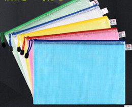 plastic zipper folders NZ - Candy Color Gridding Document Bag With Zipper Multilayers Zipper Filing Products A4 Folder School Office Supplies
