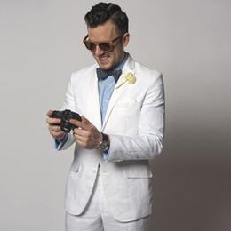 $enCountryForm.capitalKeyWord Canada - White Linen Wedding Men Suits Slim Fit Tuxeods Groom Wear 2 Pieces (Jacket+Pants) Bridegroom Blazer Costume Homme Best Man