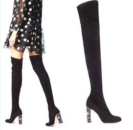 DiamonD knee high boots online shopping - New autumn winter thick heel color diamond high heeled elastic boots ladies fashion simple chunky heel knee long boots