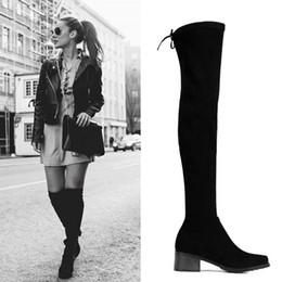 Discount black velvet shoes - Velvet Knee Length Boots For Women Fashion Sretchy Wedding Shoes Bride Black Look Slimmer Ladies Winter Supplies