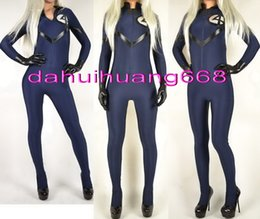Wholesale sexy super women cosplay for sale – halloween Dark Blue Lycra Spandex Fantastic Women Suit Catsuit Costumes Fantasy Sexy Women Body Suit Costumes Halloween Cosplay Costumes DH156