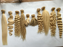 wholesale burgundy peruvian hair 2019 - #613 Blonde Bundles Brazilian Virgin Body Straight Deep Loose Natural Wave Kinky Funmi Curly Human Hair Weaves Platinum