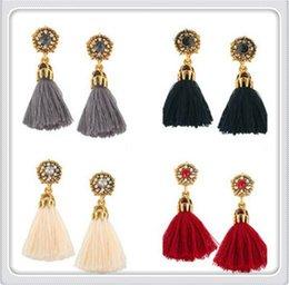 $enCountryForm.capitalKeyWord NZ - Bestseller New Designs Long Tassel Earrings Women Fashion Leather Tassels Dangle Earrings With Rhinestone Drop Earring Drop Free Shipping