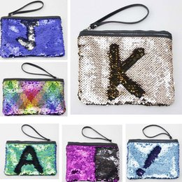 sequin bag wholesalers Canada - 50pcs 2018 Glitter Mermaid Sequin Evening Clutch Bag Reversible Sequins Coin Wallet Purse Makeup Storage Mix Color Cosmetic Bag
