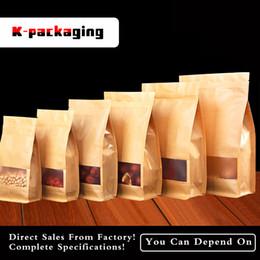 Zip paper bags online shopping - 16x26cm Mat Stand Up Zip Top Kraft Paper Block Bottom Bags Flat Bottom Bag Flat Bottom Paper Pouch