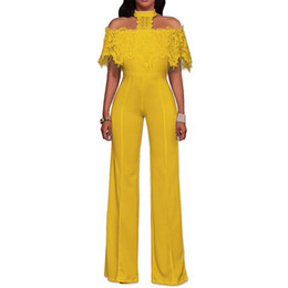 Stitch Jumpsuits NZ - NEW White Jumpsuit For Women Sexy Fashion Stitching Lace Jumpsuit Women Clothes Long Sleeveless Back Zipper Boysuits Hollow Out