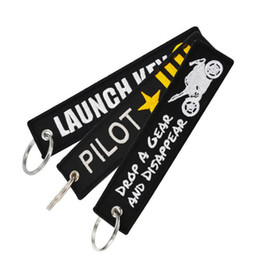 remove before flight keychain wholesale UK - Remove Before Flight Novelty Launch Keychain for Motorcycles Cars Key Tag Embroidery OEM Follow Me Key Ring Jewelry Luggage Tag