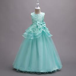 Discount peplum flower kids - Beautiful Mint Green Flower Girl Dresses Petals Kids Formal Wears Evening Gowns Ball Gown Pageant For Girls Peplum with