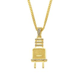 China New Plug Pendant Hip Hop Choker Sliver Gold Chain for Mens Iced Out Chain Cuban Links Necklaces cheap steel pearl suppliers