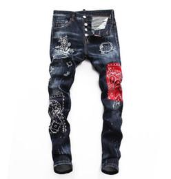 brands blue jeans 2019 - Top quality men's more labeling hole luxury punk Jeans Designer Men Jeans Famous Brand Slim Fit Mens Patch Jeans Bi