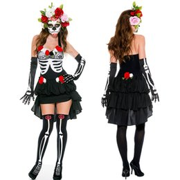 fairy halloween costumes adults 2019 - Adult Skeleton Day of The Dead Costume Women's Sexy Sugar Skull Dia Flower Fairy Halloween Ghost Vampire Bride Fanc