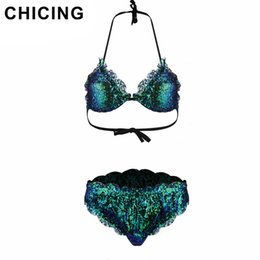 468c5fda63c CHICING Hollow Out Sequined Printed Sexy Women Beach Push Up Brazilian Set Bathing  Suits SW173