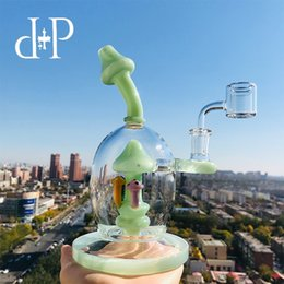 """$enCountryForm.capitalKeyWord Australia - Plus Glass Bong Water Pipe 023M Mad Mushroomery Unique Mint color heady art pipe with percolator 8"""" Height 14mm Female"""