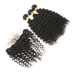 Discount cheap frontal hair piece - 13x4 Lace Frontal Closure Mongolian Virgin Hair Deep Wave 3 Bundles Mongolian Deep Wave With Frontal Closure Cheap Human