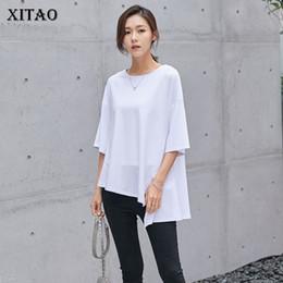 T Shirt Woman Korea NZ - [XITAO] 2018 Korea New Summer Fashion Women O-Neck Half Sleeve Irregular T-Shirts Female Solid Color Loose Pullover Tees KZH2034