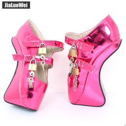 "$enCountryForm.capitalKeyWord NZ - New Ballet Heels 18CM 7"" Hoof Heel with strange high heel Fashion Novelty Sexy Fetish Padlocks Crystal Women pumps BDSM Cosplay Game shoes"