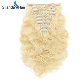 $enCountryForm.capitalKeyWord NZ - Silanda Hair #613 Blonde Body Wave Remy Hair Extension Clip In Human Hair Extensions 10pcs pack Free Shipping