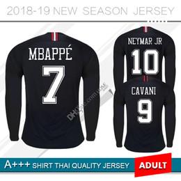 ... de fútbol de manga larga para casa de PSG Negro 2019 París  Saint-Germain Tercera Visitante   7 MBAPPE Camiseta de fútbol con parche de  liga de campeones a19e69c51896e