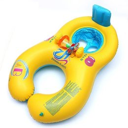 Pool Lounging NZ - Baby Outdoor Summer Lake Water Lounge Pool Mother And Child Swimming Circle Double Swimming Rings 4 Color