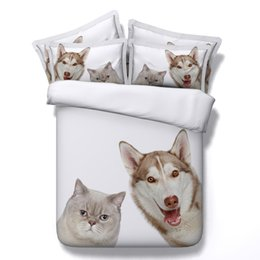printed bedding set dog NZ - 3D dog cat bedding sets husky duvet cover white bedspreads comforter cover Bed Linen Quilt Covers animal bed cover for lovers girls adults